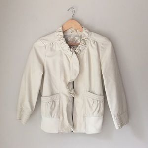 Arden B Cream Faux Leather Jacket